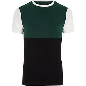 Weißes Muscle Fit T-Shirt in Blockfarben