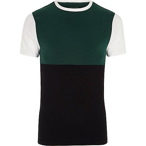 White colour block muscle fit T-shirt