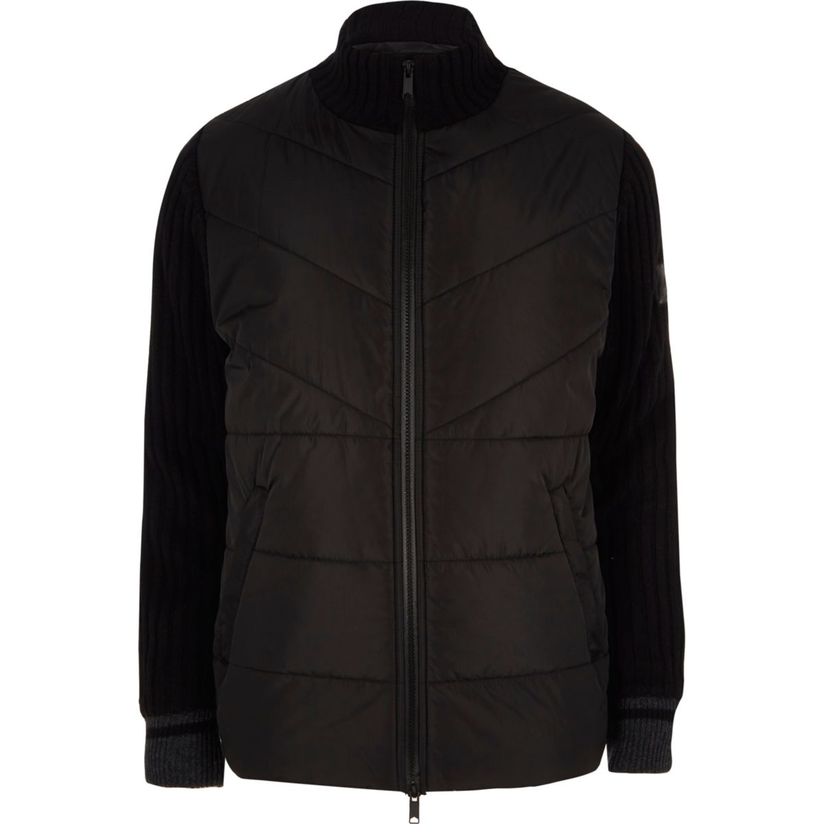 Black quilted contrast knit sleeve jacket
