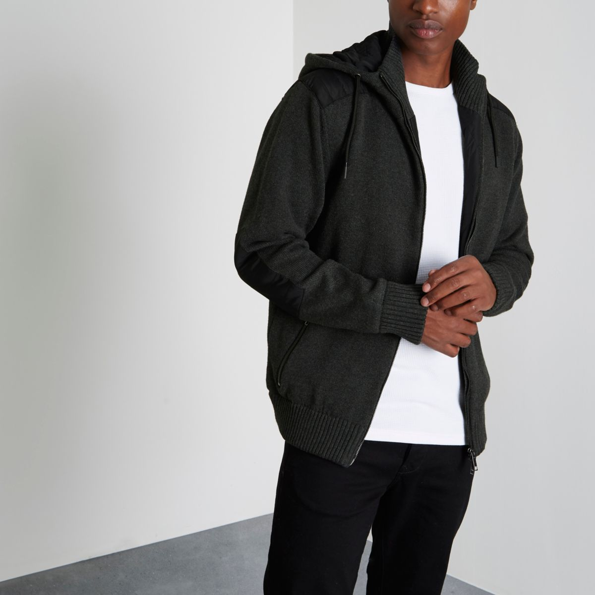 Grey hooded contrast padded knit jacket