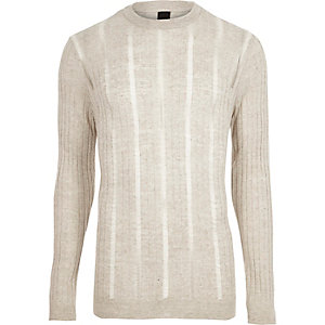 Stone ribbed ladder insert knit jumper