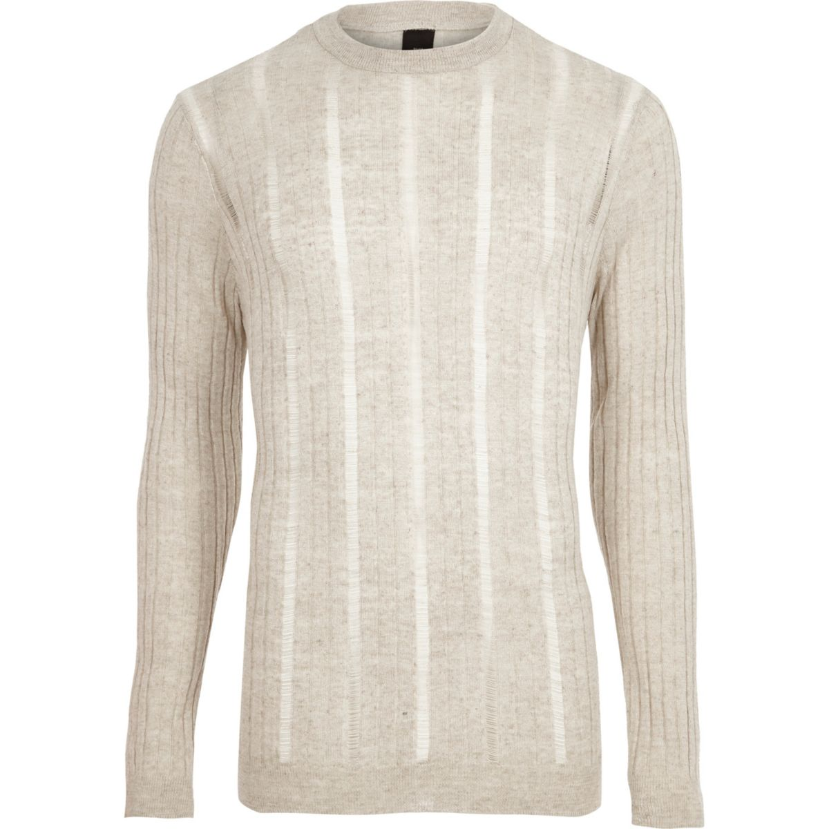 Stone ribbed ladder insert knit sweater