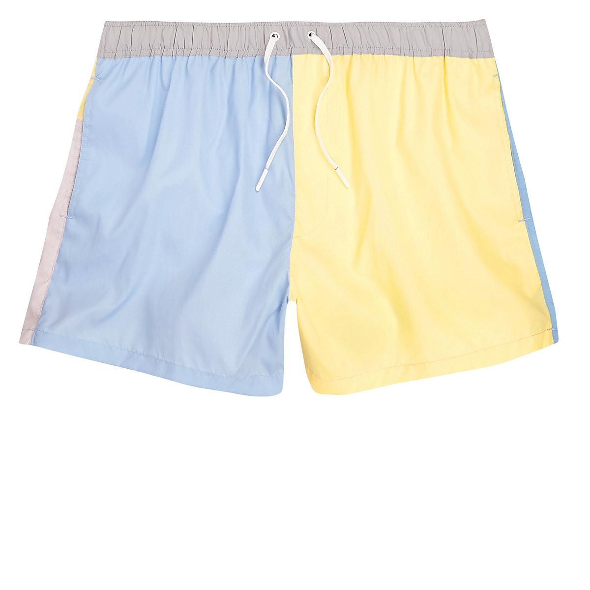Light blue block color swim trunks