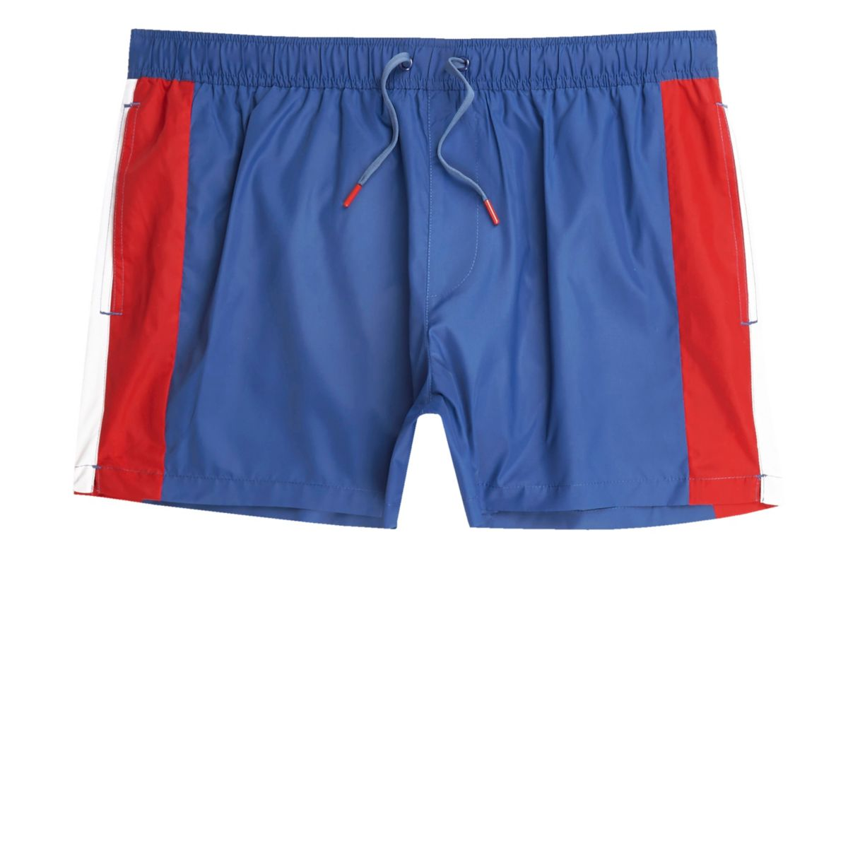 Blue and red block swim shorts