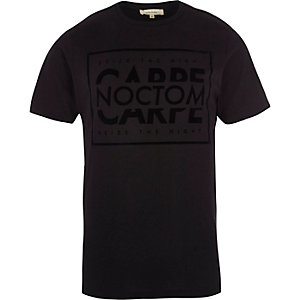 Black 'carpe noctom' slim fit T-shirt