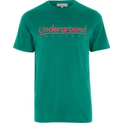 Groen slim-fit T-shirt met underground sessions'-print