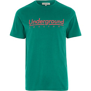 Groen slim-fit T-shirt met 'underground sessions'-print