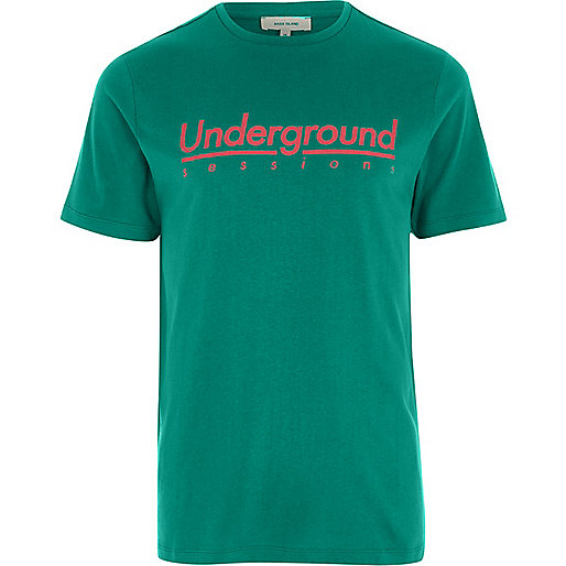 Green 'underground sessions' slim fit T-shirt