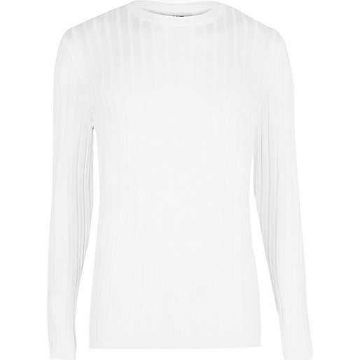 Big and Tall white ribbed crew neck jumper
