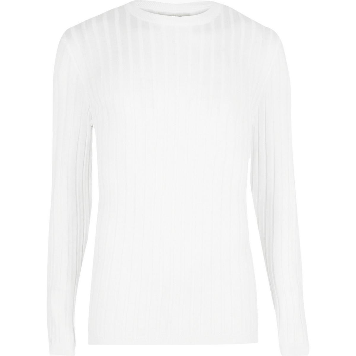 Big & Tall – Weißer Pullover mit Rundhalsausschnitt