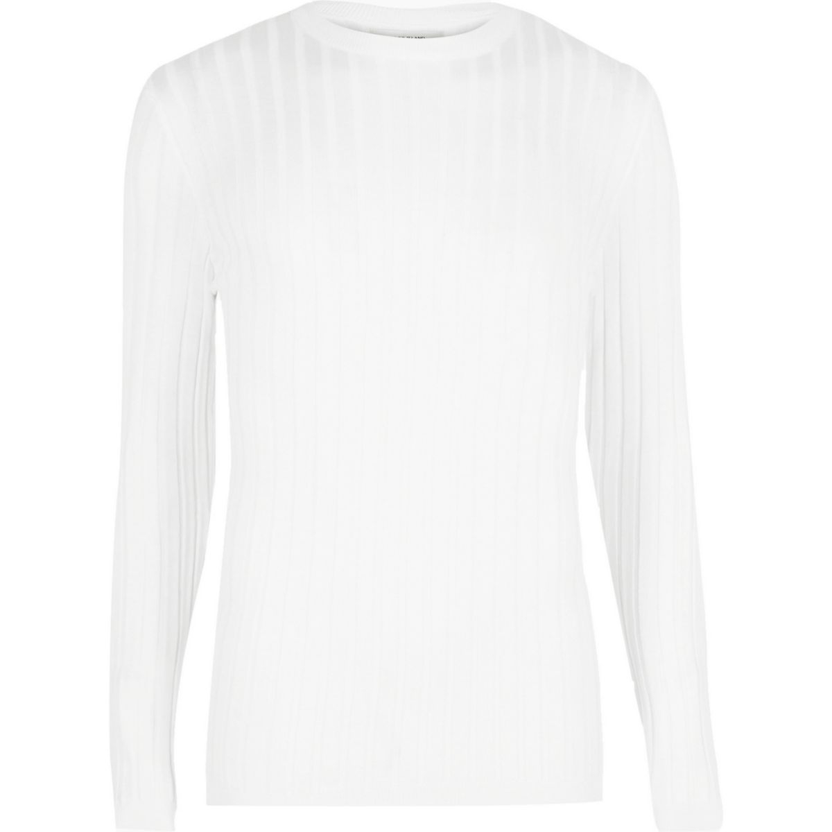 Big and Tall - Witte geribbelde pullover met ronde hals