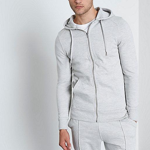 Light grey muscle fit zip-up hoodie