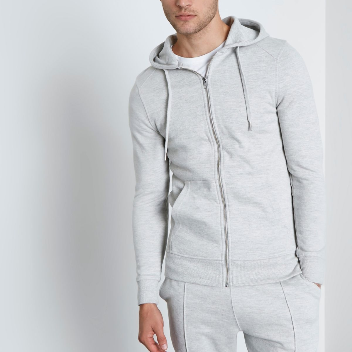 Light grey muscle fit zip-up hoodie