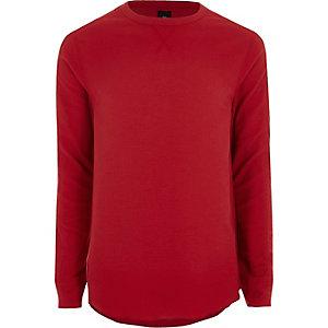 Rood slim-fit T-shirt met lange mouwen en wafeldessin