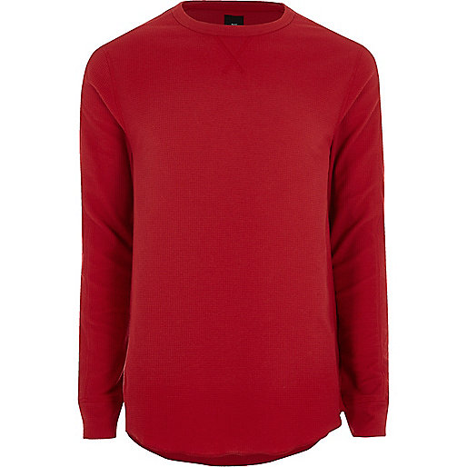 Red waffle slim fit long sleeve T-shirt