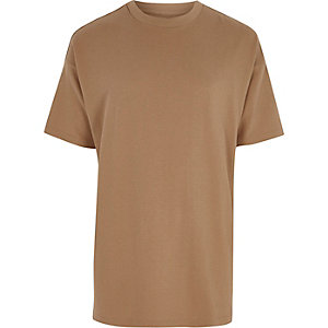 Light brown short sleeve oversized T-shirt