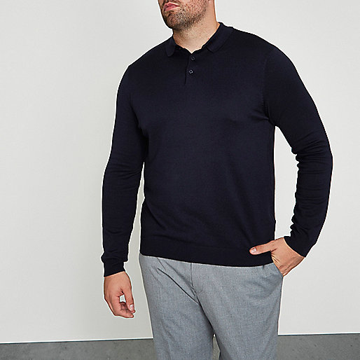 Big and Tall navy knitted polo shirt