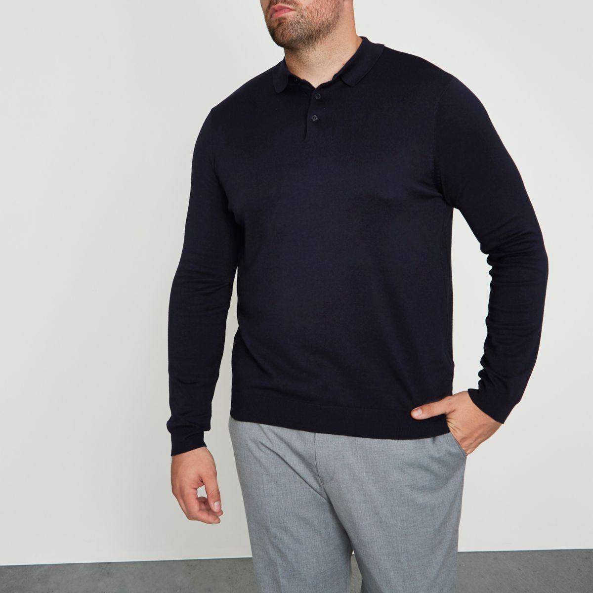 Big & Tall – Marineblaues Polohemd