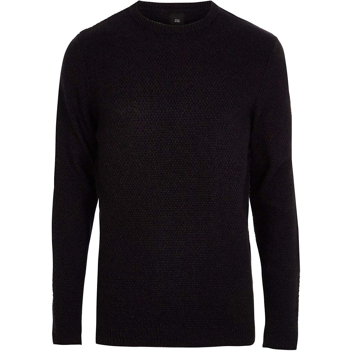 Big and Tall navy textured crew neck sweater