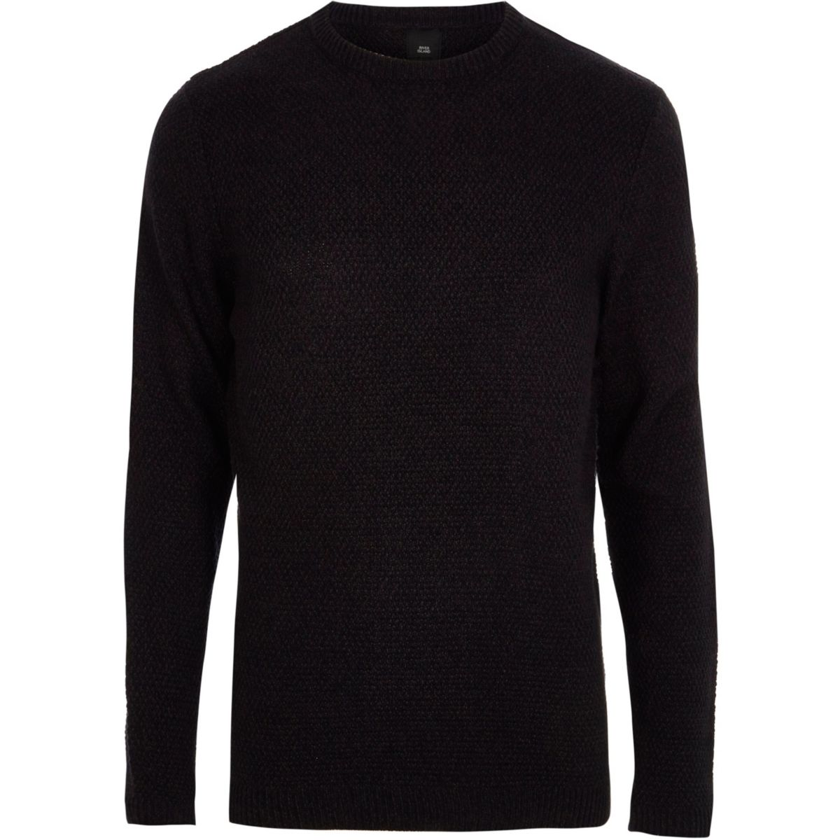 Big and Tall navy textured crew neck jumper