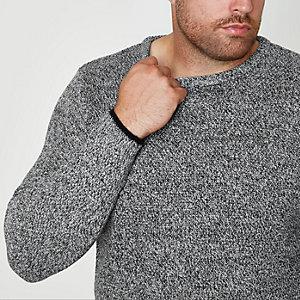 Big & Tall – Grauer Pullover mit Rundhalsausschnitt