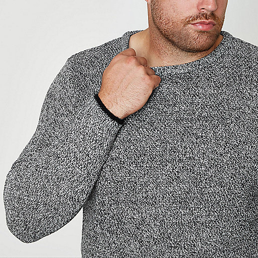 Big and Tall grey crew neck sweater