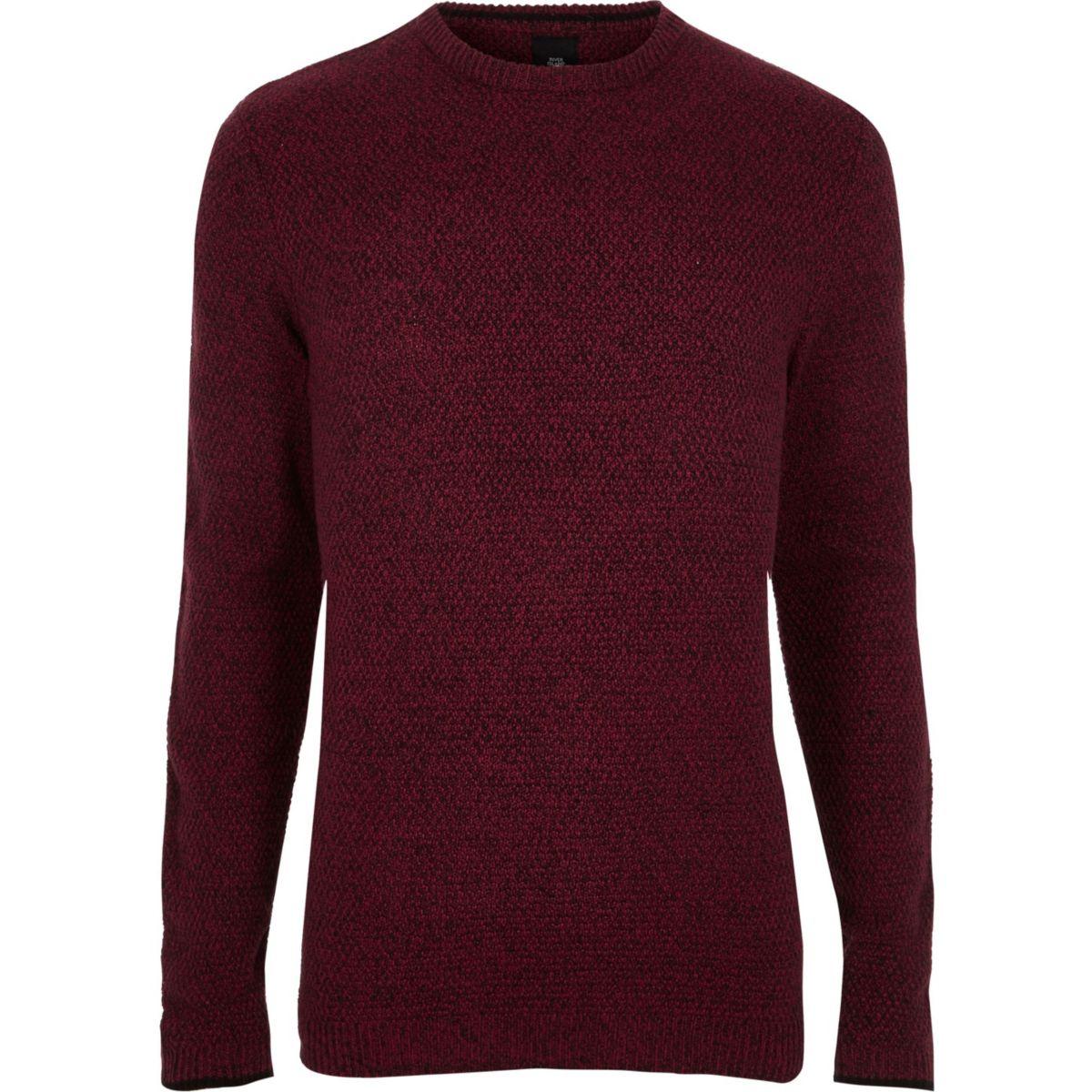 Big & Tall – Roter Pullover mit Rundhalsausschnitt