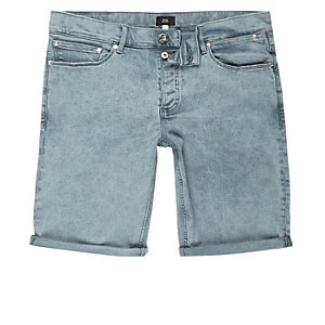 Light green acid wash skinny denim shorts