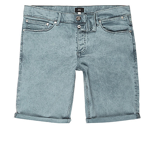 Light green acid wash skinny denim shorts