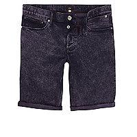 Dark purple acid wash skinny denim shorts