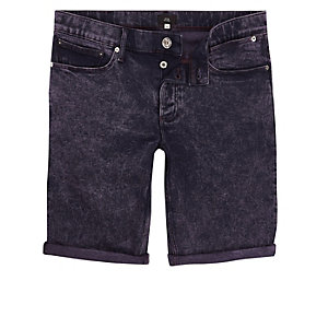 Dark purple acid wash skinny denim shorts