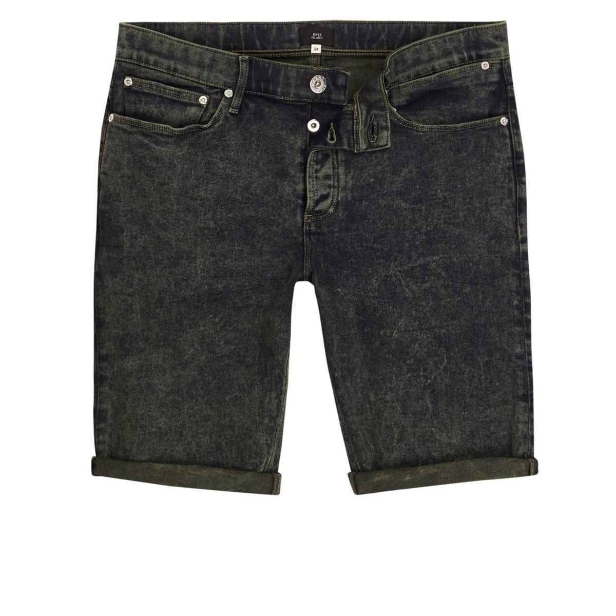 Dark green acid wash skinny denim shorts