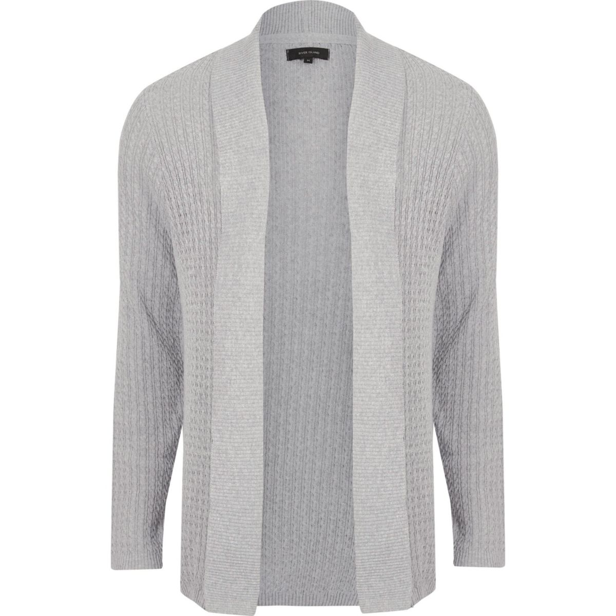 Big and Tall grey cable knit cardigan
