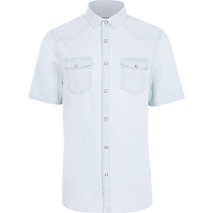 Light blue bleached short sleeve denim shirt