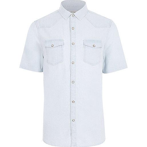 Light blue bleached short sleeve denim shirt
