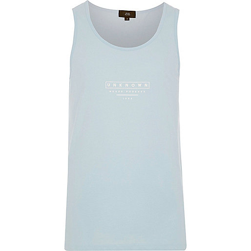 Light blue 'Unknown' print vest