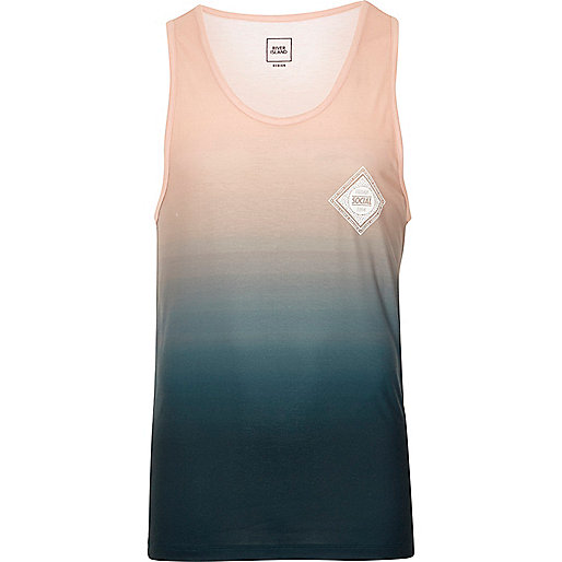 Green and coral fade print vest