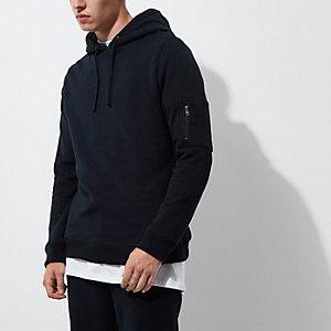 Marineblauwe hoodie met rits op de mouw