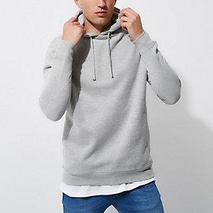 Grey marl zip sleeve hoodie