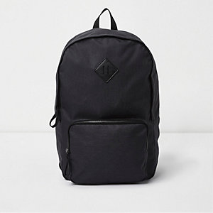 Black front zip pocket backpack