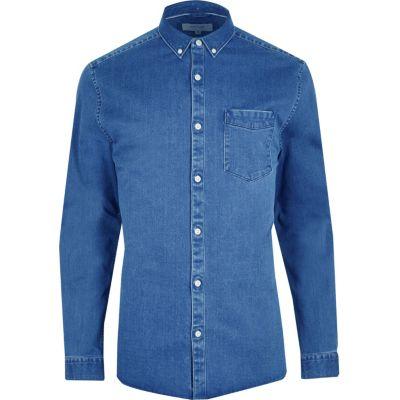 RI Big and Tall Blauw denim button-down overhemd