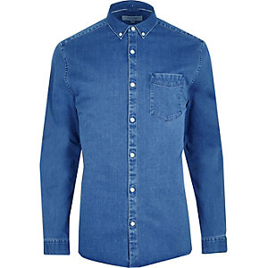 RI Big and Tall - Blauw denim button-down overhemd