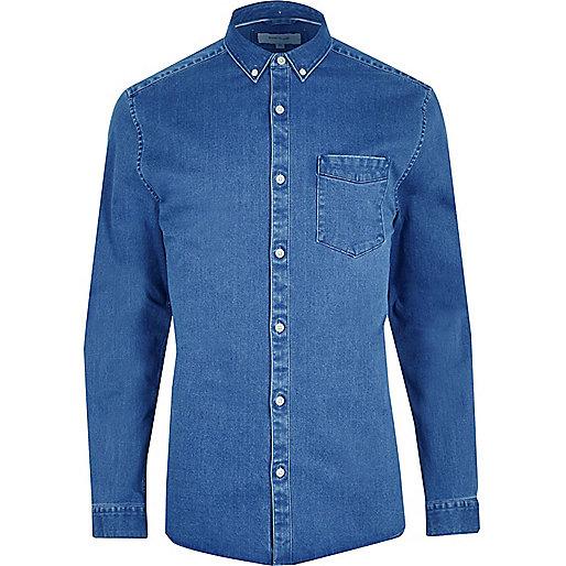 Big and Tall blue button-down denim shirt