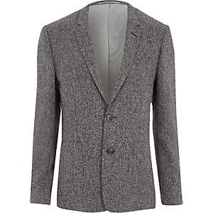 Grey textured skinny fit suit blazer