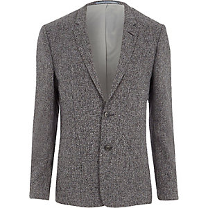 Blazer skinny gris texturé