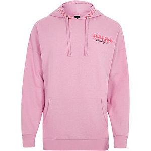 Pink 'New York' print hoodie