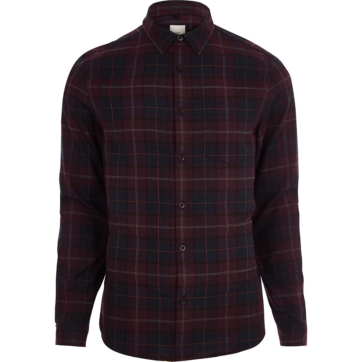 Burgundy check long sleeve shirt