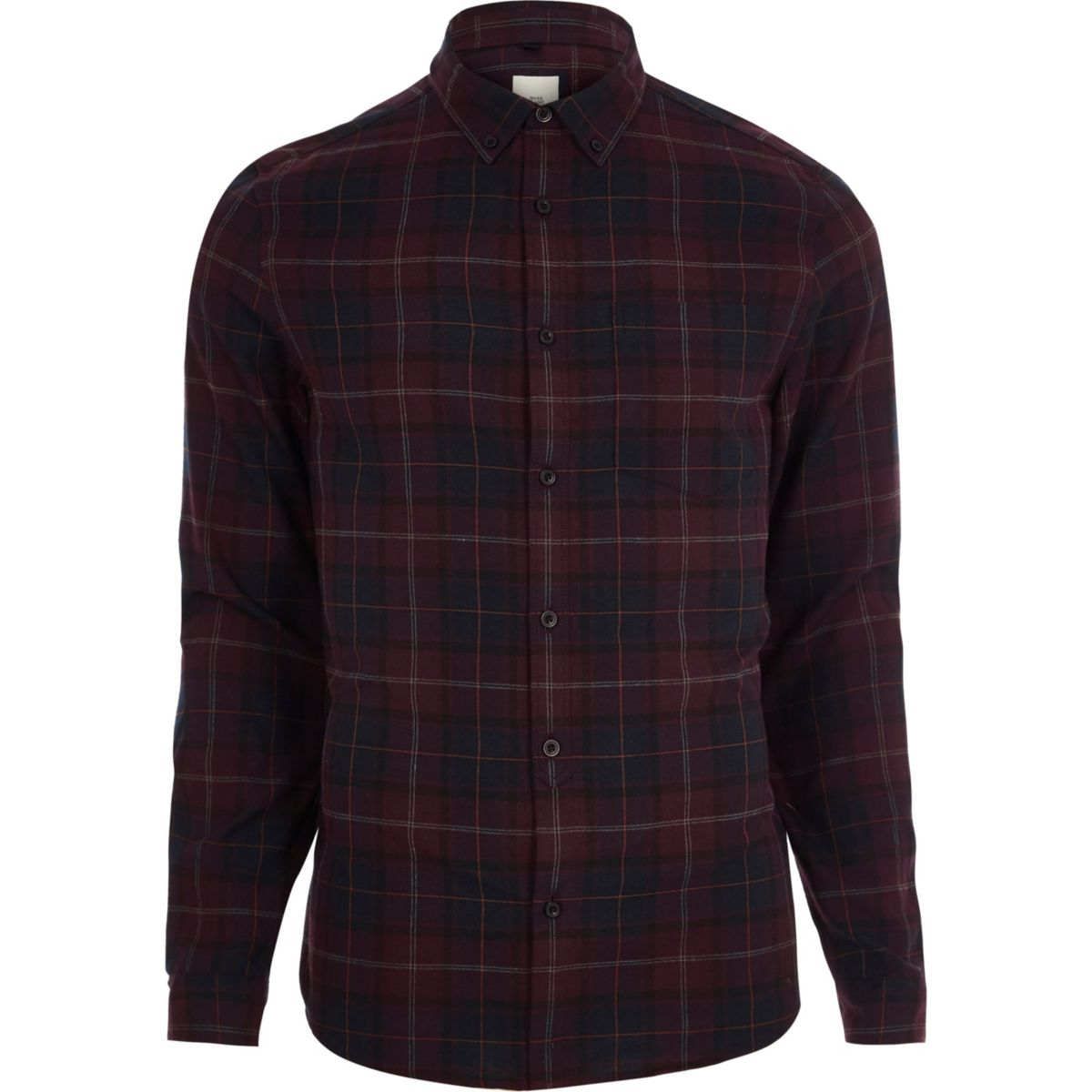 Burgundy check long sleeve shirt shirts sale men for Mens long sleeve t shirts sale