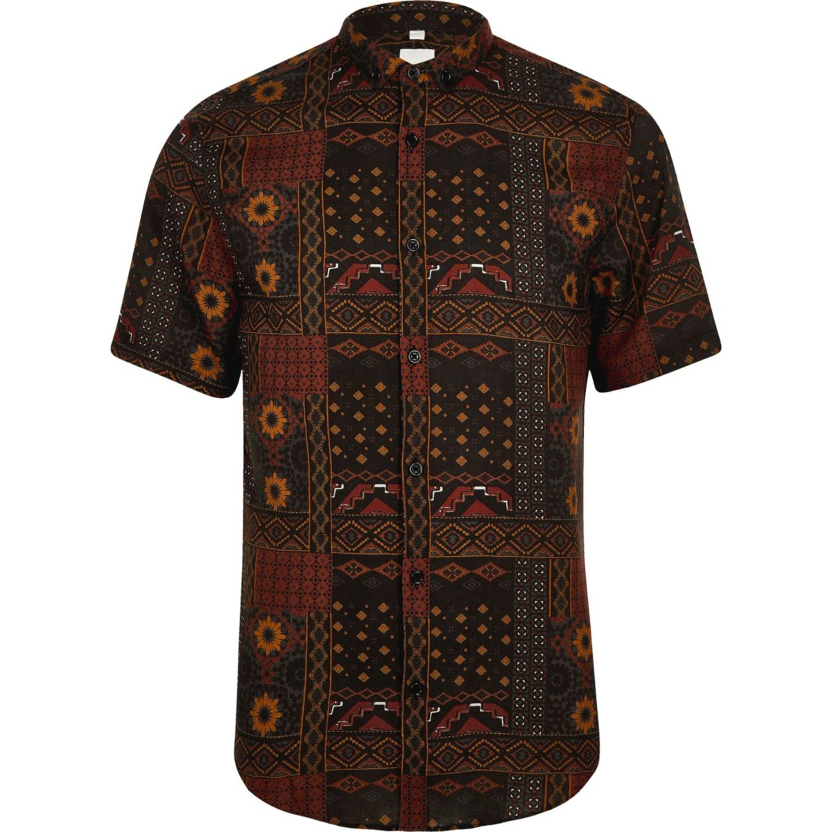 Red aztec slim fit short sleeve revere shirt