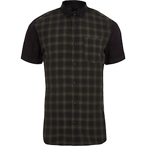 Green check slim fit short sleeve shirt